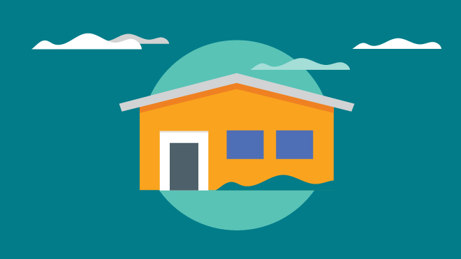 Cartoon image of house with clouds