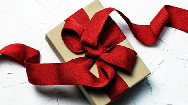 Gift with open ribbon