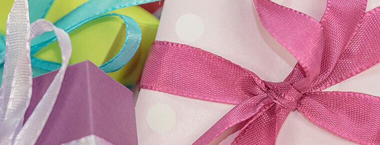 Gifts decorated with ribbons