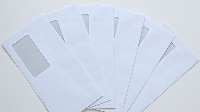 Display of empty envelopes