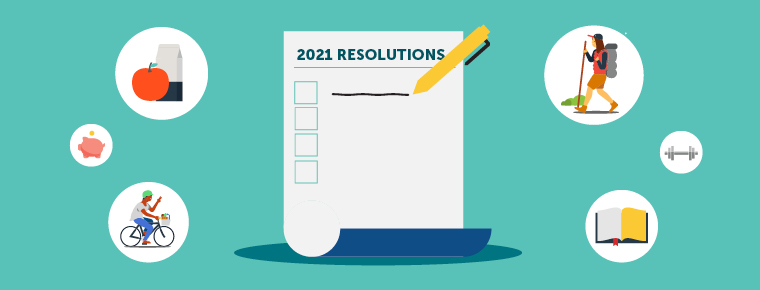Illustration of the start of a New Year's resolution list surrounded by six pictures in circles: an apple with a milk carton, a person walking outside, a person riding a bike, a book, a small picture of a piggy bank, and a small picture of a dumbbell.