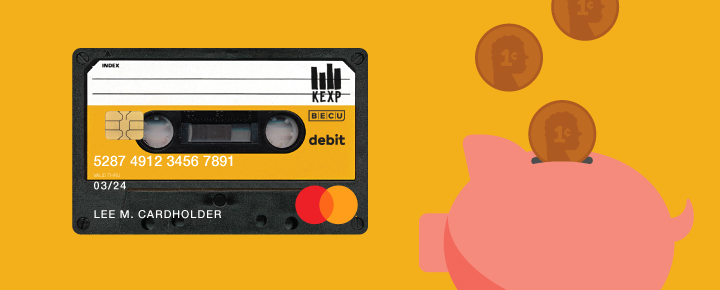 KEXP cassette and piggy bank