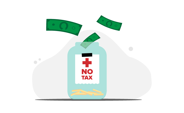 "Illustration of jar with money going into it stating ""no tax"""