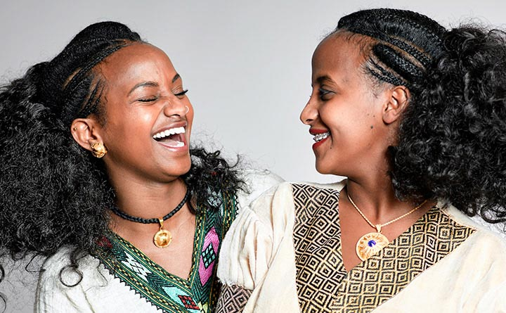 Two Young Women, Smiling